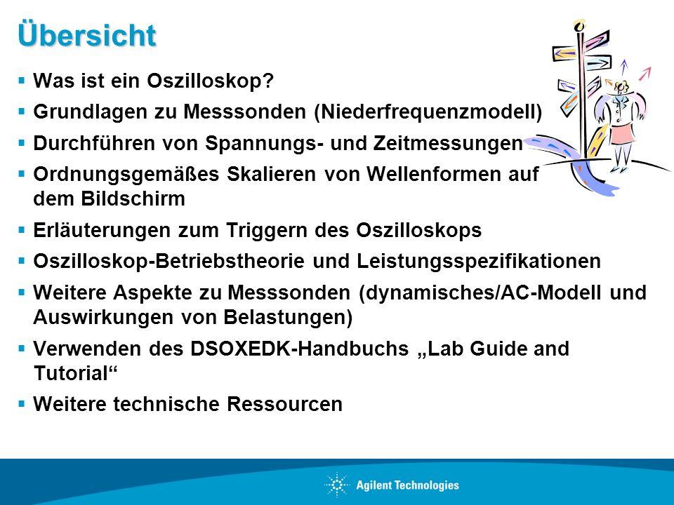 Übersicht Was ist ein Oszilloskop? Grundlagen zu Messsonden (Niederfrequenzmodell) Durchführen von Spannungs- und Zeitmessungen Ordnungsgemäßes Skalie