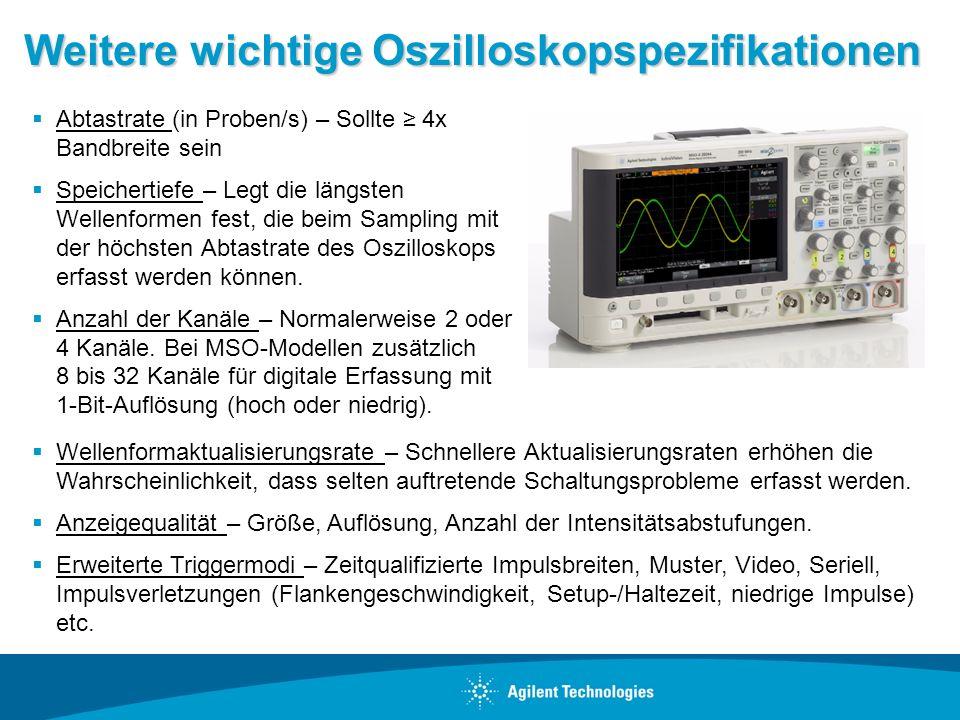 Weitere wichtige Oszilloskopspezifikationen Abtastrate (in Proben/s) – Sollte 4x Bandbreite sein Speichertiefe – Legt die längsten Wellenformen fest,
