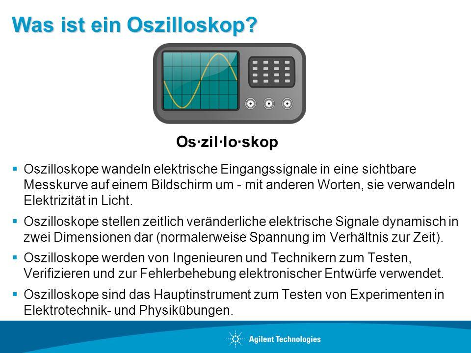 Bezeichnungen Oszilloskop – Gängige Terminologie DSO – Digitales Speicheroszilloskop Digitales Oszilloskop Analoges Oszilloskop – Ältere Technologie, die gelegentlich noch immer zu finden ist Kathodenstrahloszilloskop – Cathode Ray Oscilloscope (CRO).