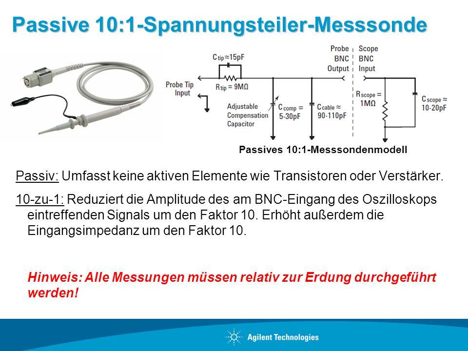 Passive 10:1-Spannungsteiler-Messsonde Passiv: Umfasst keine aktiven Elemente wie Transistoren oder Verstärker. 10-zu-1: Reduziert die Amplitude des a