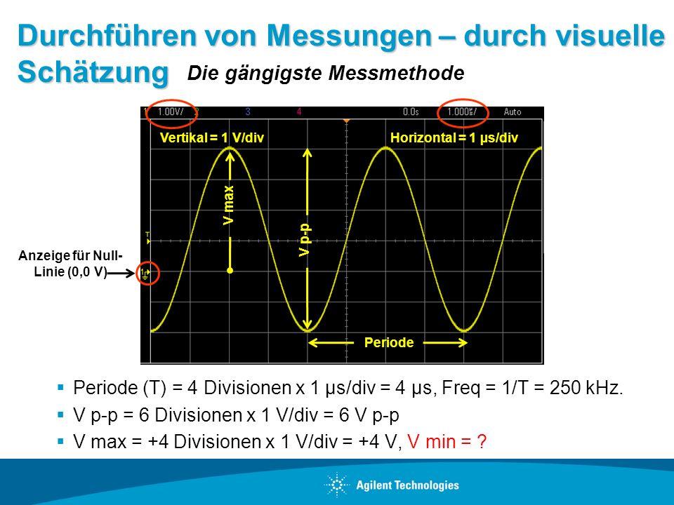 Durchführen von Messungen – durch visuelle Schätzung Periode (T) = 4 Divisionen x 1 µs/div = 4 µs, Freq = 1/T = 250 kHz. V p-p = 6 Divisionen x 1 V/di