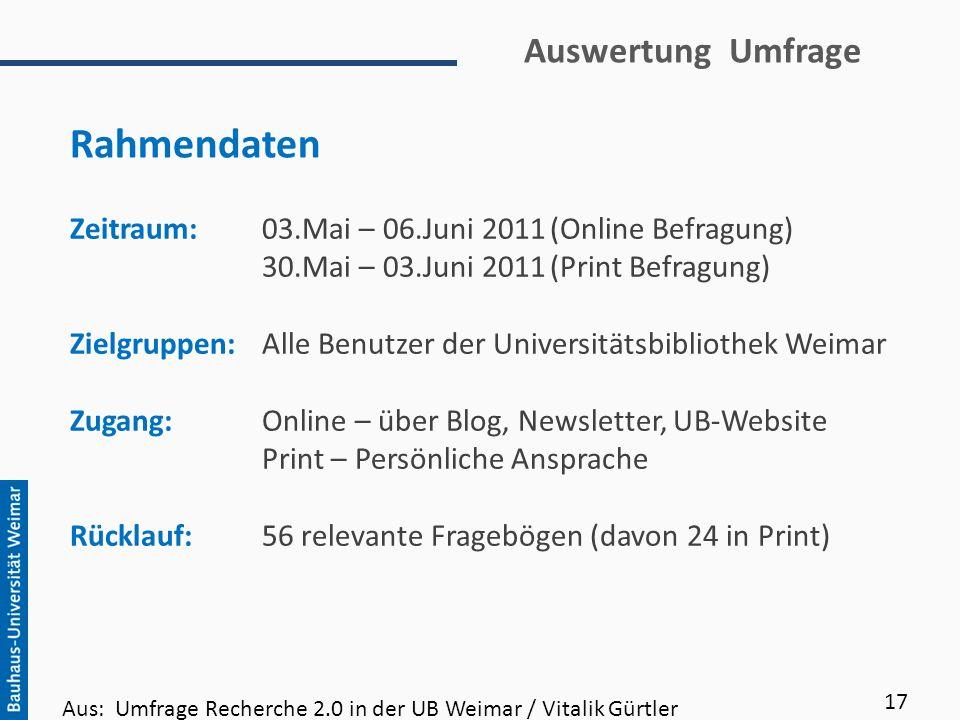 Auswertung Umfrage Zeitraum:03.Mai – 06.Juni 2011(Online Befragung) 30.Mai – 03.Juni 2011(Print Befragung) Zielgruppen:Alle Benutzer der Universitätsb