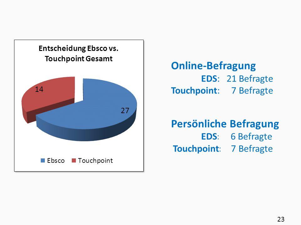 Online-Befragung EDS: 21 Befragte Touchpoint: 7 Befragte Persönliche Befragung EDS : 6 Befragte Touchpoint : 7 Befragte 23