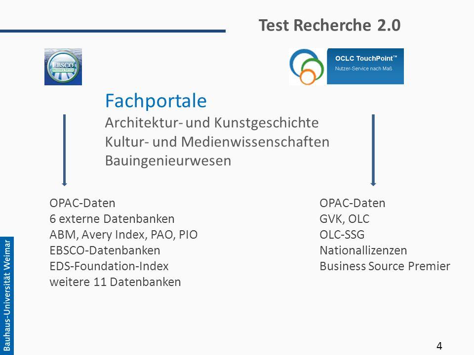 Fachportale Architektur- und Kunstgeschichte Kultur- und Medienwissenschaften Bauingenieurwesen OPAC-Daten 6 externe Datenbanken ABM, Avery Index, PAO