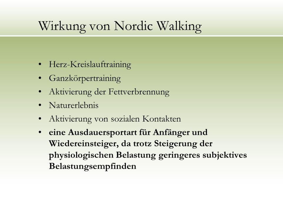 Nordic Walking Technik Kreuzkoordination funktional aufgerichtetem Oberkörper funktionellem Stockeinsatz raumgreifenden Bewegungen erreichen fünf Zonen: Oberkörper Arme Hände Stockführung untere Extremität 6 Schritte, je zwei zu jeder Zone