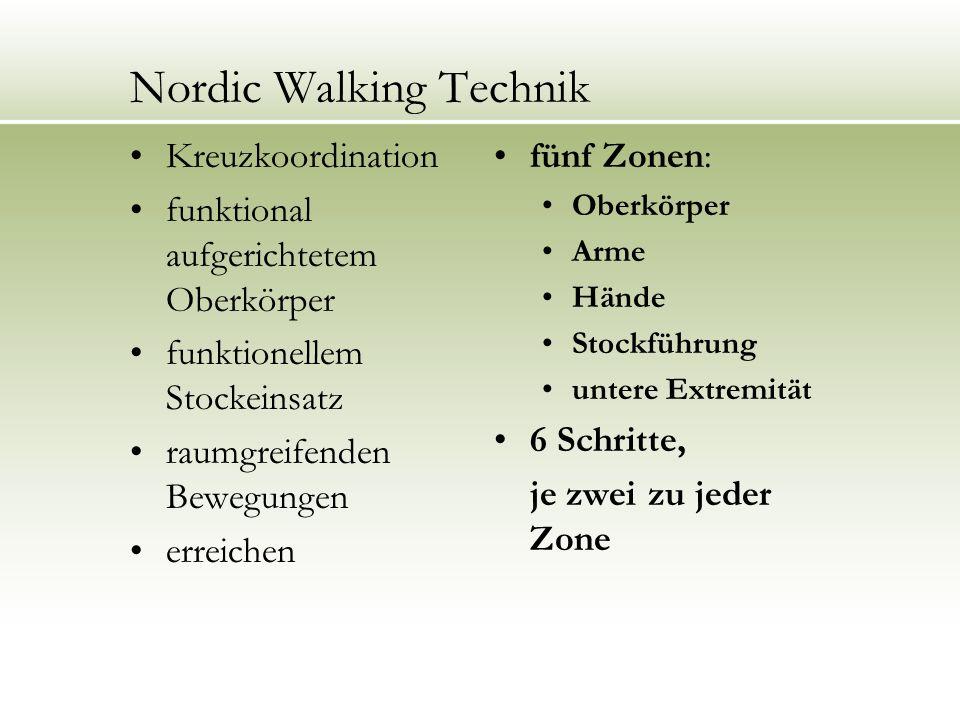 Die Nordic Walking Technik Technik in 6 Schritten Einleitung oder Aufwärmphase 5-10 min Hauptteil oder Schwerpunkt 40-50 min Ausklang 5-10 min 1.