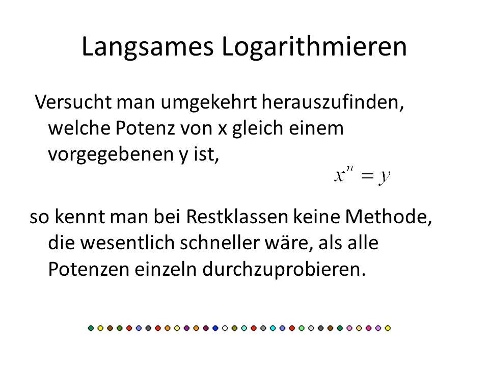 Langsames Logarithmieren Versucht man umgekehrt herauszufinden, welche Potenz von x gleich einem vorgegebenen y ist, so kennt man bei Restklassen kein