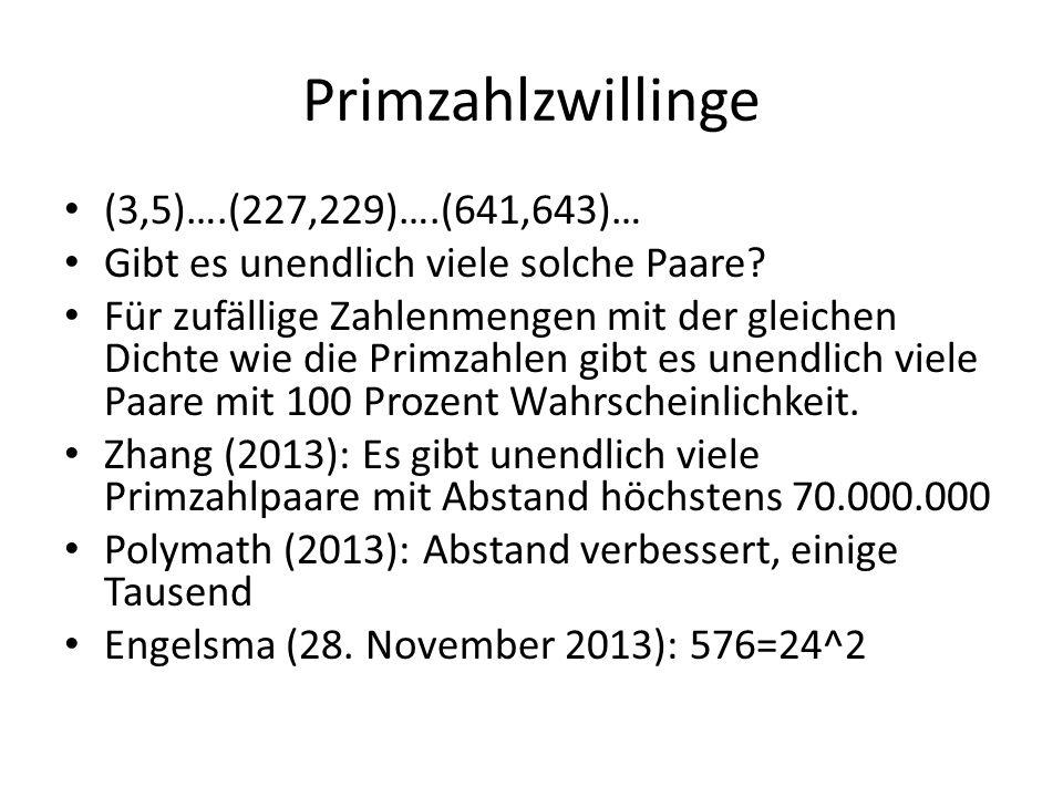 Primzahlzwillinge (3,5)….(227,229)….(641,643)… Gibt es unendlich viele solche Paare? Für zufällige Zahlenmengen mit der gleichen Dichte wie die Primza
