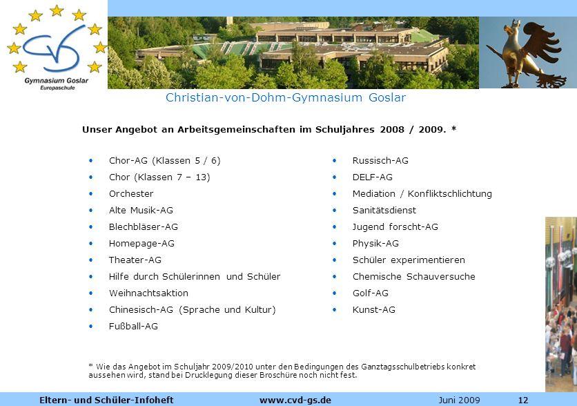 Dienstleistungen für die Pharmazeutische Industrie Juni 2009Eltern- und Schüler-Infoheft www.cvd-gs.de12 Christian-von-Dohm-Gymnasium Goslar Unser Ang