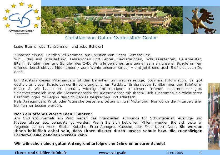 Dienstleistungen für die Pharmazeutische Industrie Juni 2009Eltern- und Schüler-Infoheft www.cvd-gs.de333 Christian-von-Dohm-Gymnasium Goslar Liebe El