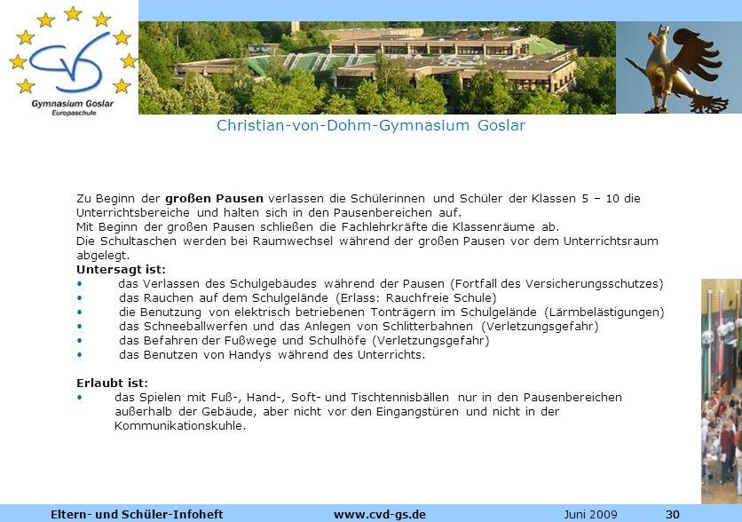 Dienstleistungen für die Pharmazeutische Industrie Juni 2009Eltern- und Schüler-Infoheft www.cvd-gs.de30 Christian-von-Dohm-Gymnasium Goslar Zu Beginn