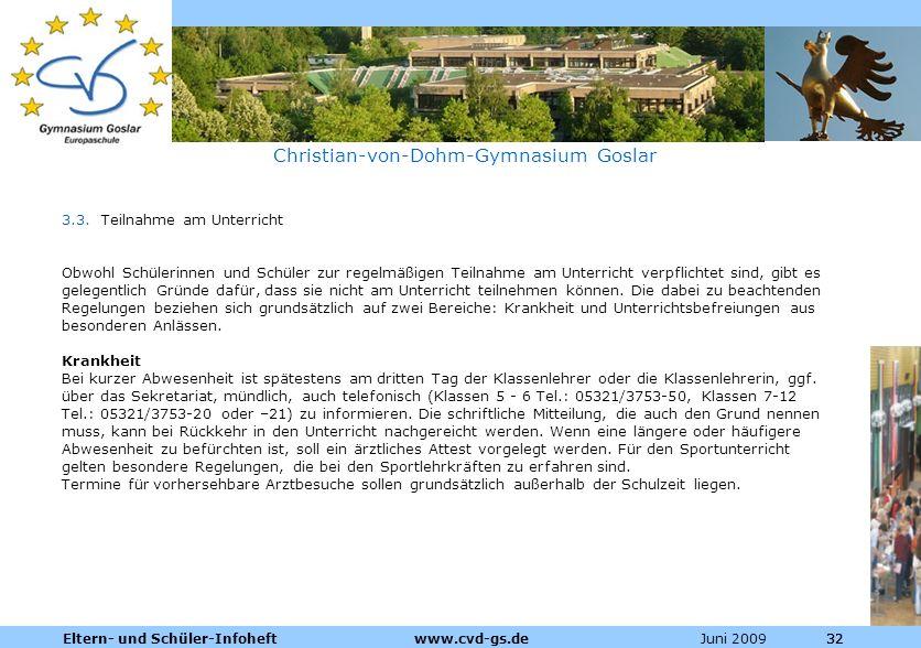 Dienstleistungen für die Pharmazeutische Industrie Juni 2009Eltern- und Schüler-Infoheft www.cvd-gs.de32 Christian-von-Dohm-Gymnasium Goslar 3.3. Teil