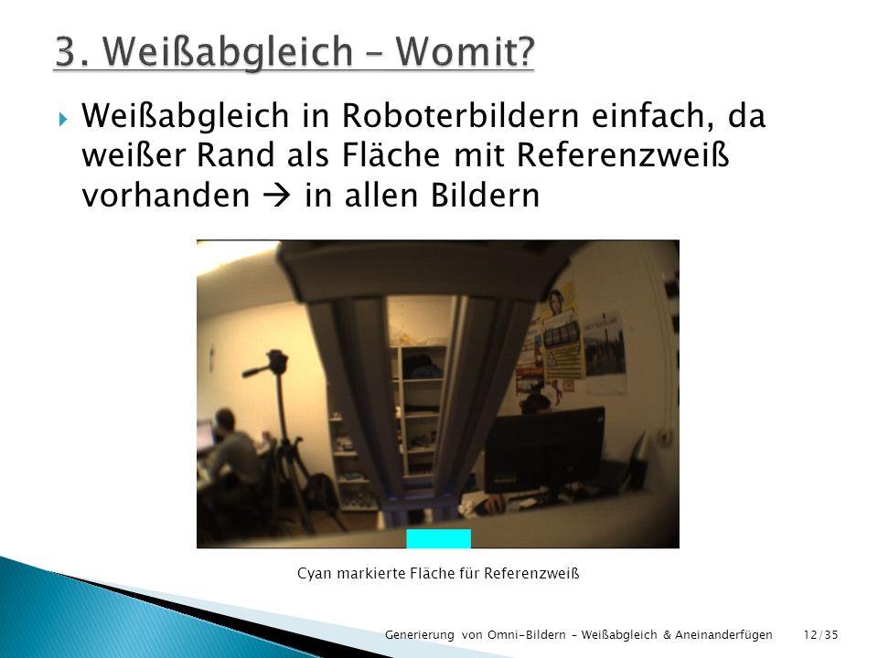 Weißabgleich in Roboterbildern einfach, da weißer Rand als Fläche mit Referenzweiß vorhanden in allen Bildern Generierung von Omni-Bildern – Weißabgle
