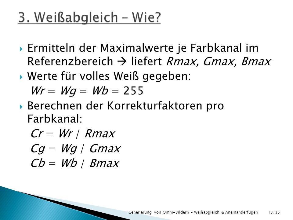 Ermitteln der Maximalwerte je Farbkanal im Referenzbereich liefert Rmax, Gmax, Bmax Werte für volles Weiß gegeben: Wr = Wg = Wb = 255 Berechnen der Ko