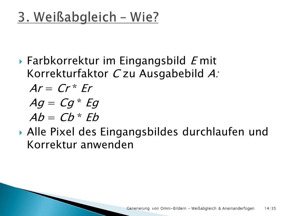 Farbkorrektur im Eingangsbild E mit Korrekturfaktor C zu Ausgabebild A: Ar = Cr * Er Ag = Cg * Eg Ab = Cb * Eb Alle Pixel des Eingangsbildes durchlauf