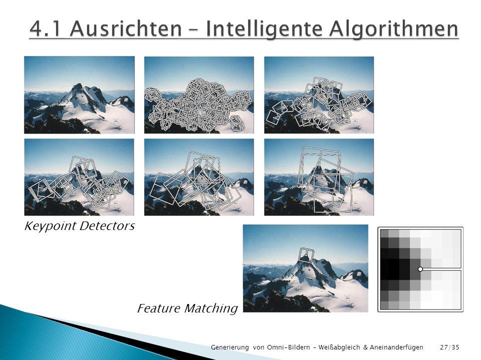 Keypoint Detectors Feature Matching Generierung von Omni-Bildern – Weißabgleich & Aneinanderfügen27/35