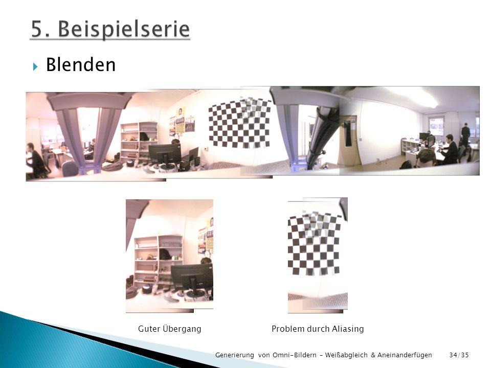 Blenden Generierung von Omni-Bildern – Weißabgleich & Aneinanderfügen Guter ÜbergangProblem durch Aliasing 34/35