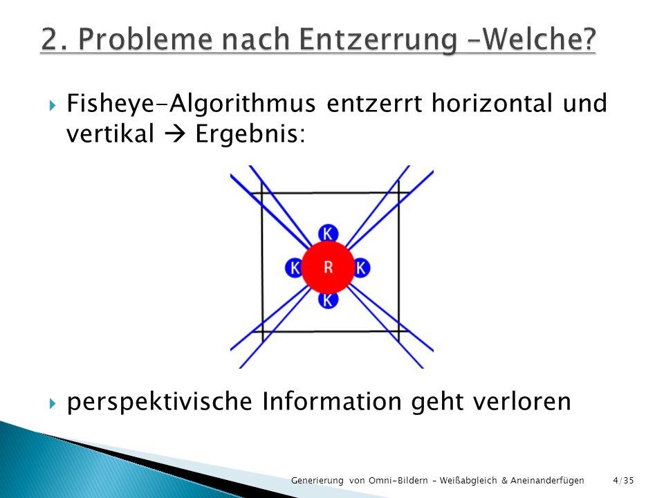 Generierung von Omni-Bildern – Weißabgleich & Aneinanderfügen Fisheye-Algorithmus entzerrt horizontal und vertikal Ergebnis: perspektivische Informati