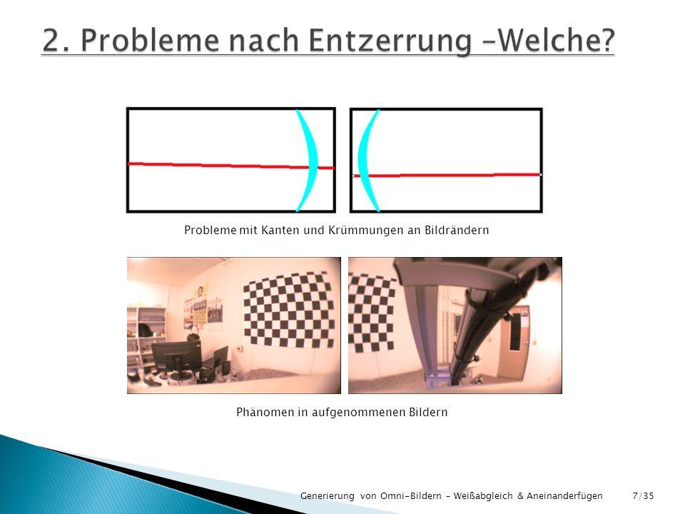 Generierung von Omni-Bildern – Weißabgleich & Aneinanderfügen Probleme mit Kanten und Krümmungen an Bildrändern Phänomen in aufgenommenen Bildern 7/35