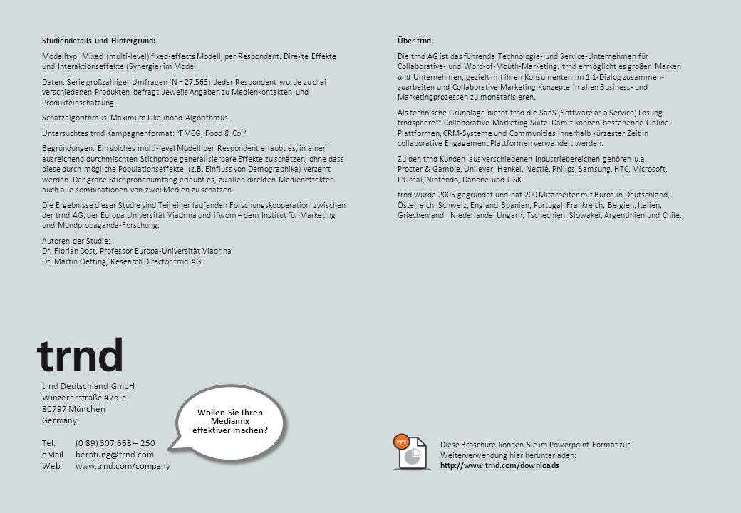Studiendetails und Hintergrund: Modelltyp: Mixed (multi-level) fixed-effects Modell, per Respondent.