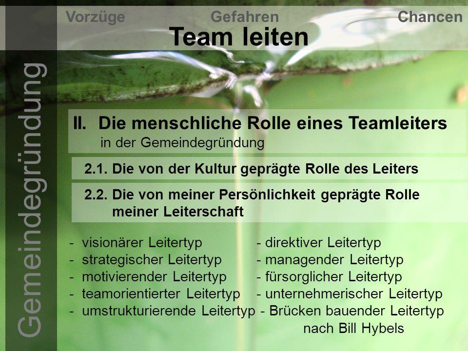 Gemeindegründung Team leiten Vorzüge Gefahren Chancen IV.