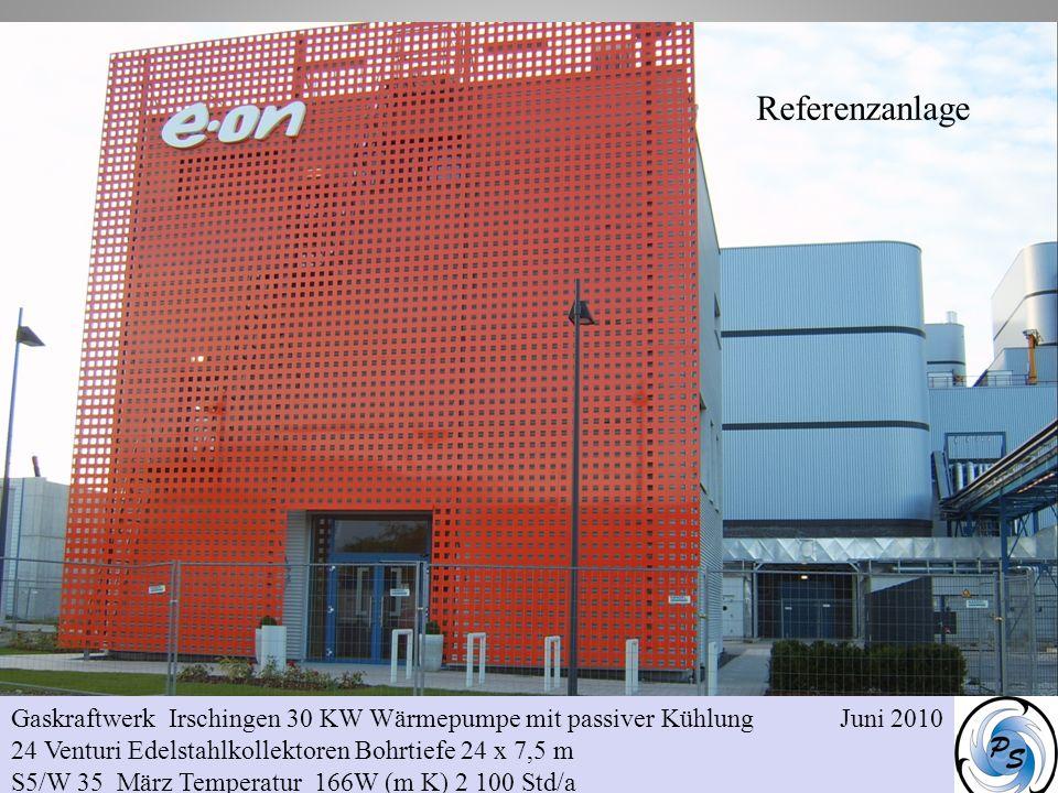 Gaskraftwerk Irschingen 30 KW Wärmepumpe mit passiver Kühlung Juni 2010 24 Venturi Edelstahlkollektoren Bohrtiefe 24 x 7,5 m S5/W 35 März Temperatur 1