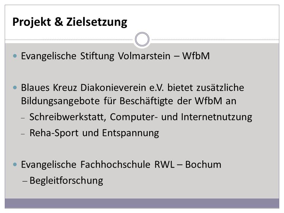 Projekt & Zielsetzung Evangelische Stiftung Volmarstein – WfbM Blaues Kreuz Diakonieverein e.V. bietet zusätzliche Bildungsangebote für Beschäftigte d