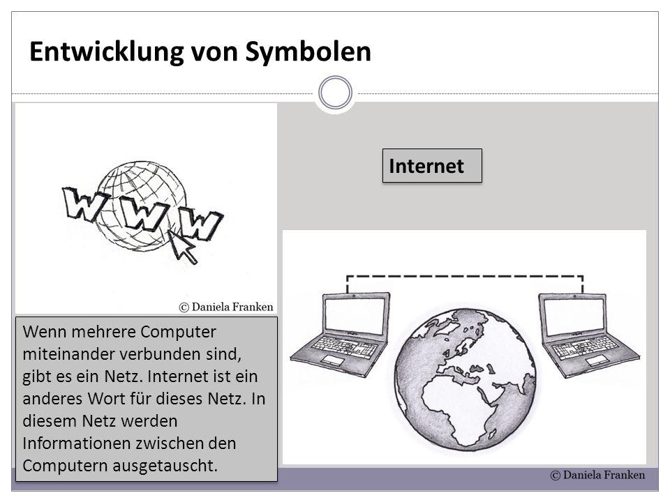 Entwicklung von Symbolen Internet Wenn mehrere Computer miteinander verbunden sind, gibt es ein Netz. Internet ist ein anderes Wort für dieses Netz. I