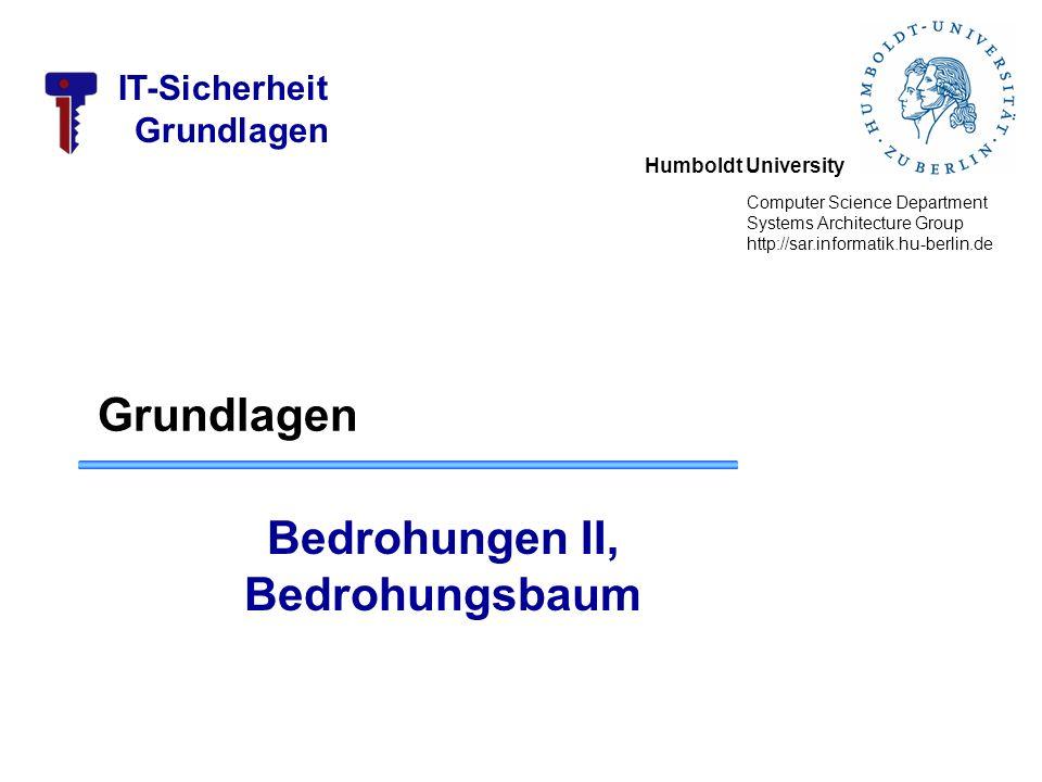 Humboldt University Computer Science Department Systems Architecture Group http://sar.informatik.hu-berlin.de IT-Sicherheit Grundlagen Bedrohungen II,