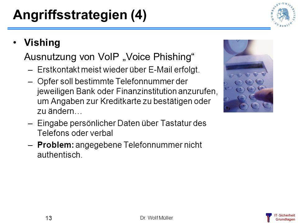 IT-Sicherheit Grundlagen Angriffsstrategien (4) Vishing Ausnutzung von VoIP Voice Phishing –Erstkontakt meist wieder über E-Mail erfolgt. –Opfer soll