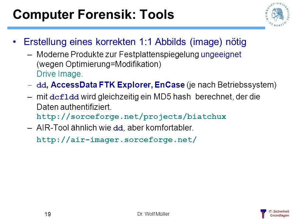 IT-Sicherheit Grundlagen Dr. Wolf Müller 19 Computer Forensik: Tools Erstellung eines korrekten 1:1 Abbilds (image) nötig –Moderne Produkte zur Festpl