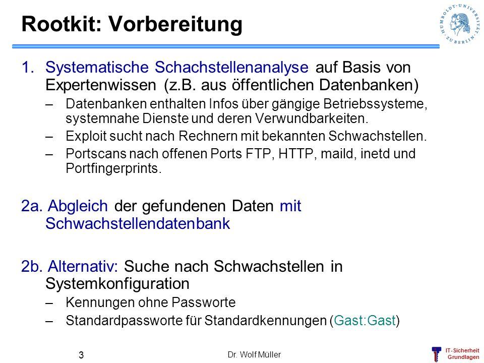 IT-Sicherheit Grundlagen Dr. Wolf Müller 3 Rootkit: Vorbereitung 1.Systematische Schachstellenanalyse auf Basis von Expertenwissen (z.B. aus öffentlic