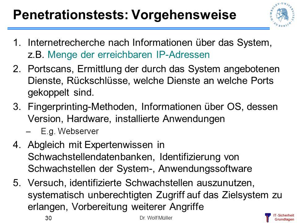 IT-Sicherheit Grundlagen Dr. Wolf Müller 30 Penetrationstests: Vorgehensweise 1.Internetrecherche nach Informationen über das System, z.B. Menge der e