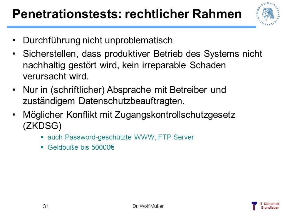 IT-Sicherheit Grundlagen Dr. Wolf Müller 31 Penetrationstests: rechtlicher Rahmen Durchführung nicht unproblematisch Sicherstellen, dass produktiver B
