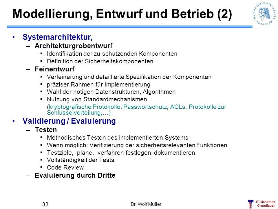 IT-Sicherheit Grundlagen Dr. Wolf Müller 33 Modellierung, Entwurf und Betrieb (2) Systemarchitektur, –Architekturgrobentwurf Identifikation der zu sch