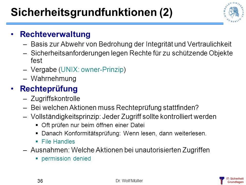IT-Sicherheit Grundlagen Dr. Wolf Müller 36 Sicherheitsgrundfunktionen (2) Rechteverwaltung –Basis zur Abwehr von Bedrohung der Integrität und Vertrau