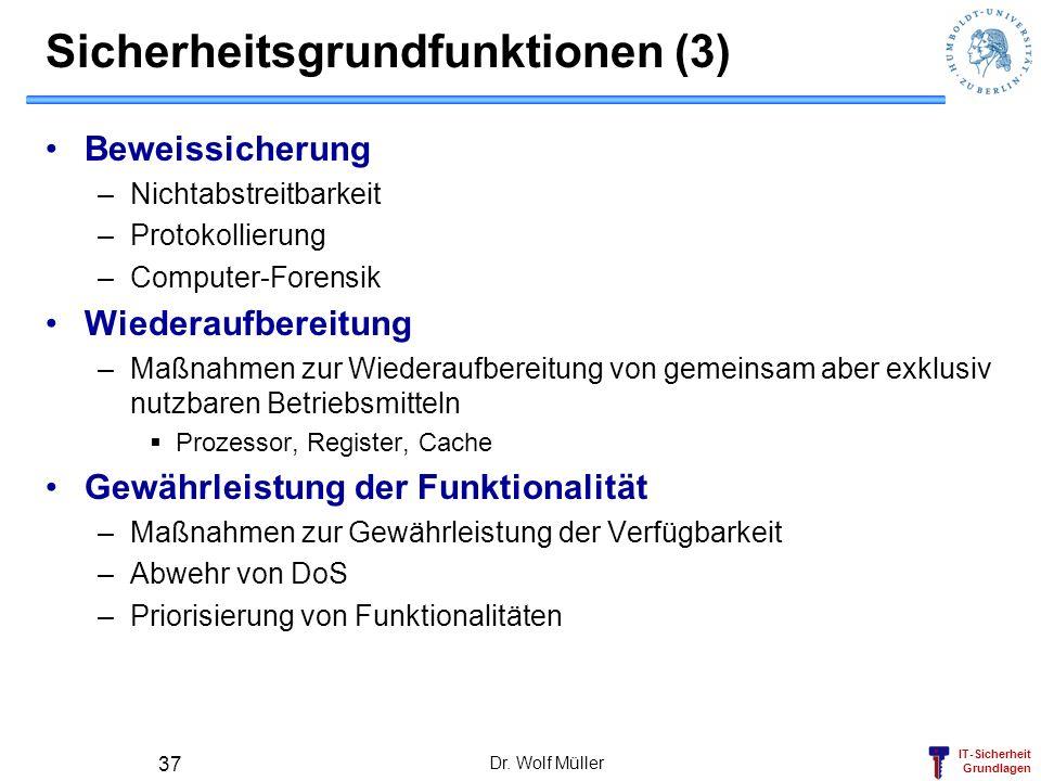 IT-Sicherheit Grundlagen Dr. Wolf Müller 37 Sicherheitsgrundfunktionen (3) Beweissicherung –Nichtabstreitbarkeit –Protokollierung –Computer-Forensik W