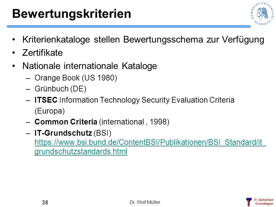 IT-Sicherheit Grundlagen Dr. Wolf Müller 38 Bewertungskriterien Kriterienkataloge stellen Bewertungsschema zur Verfügung Zertifikate Nationale interna