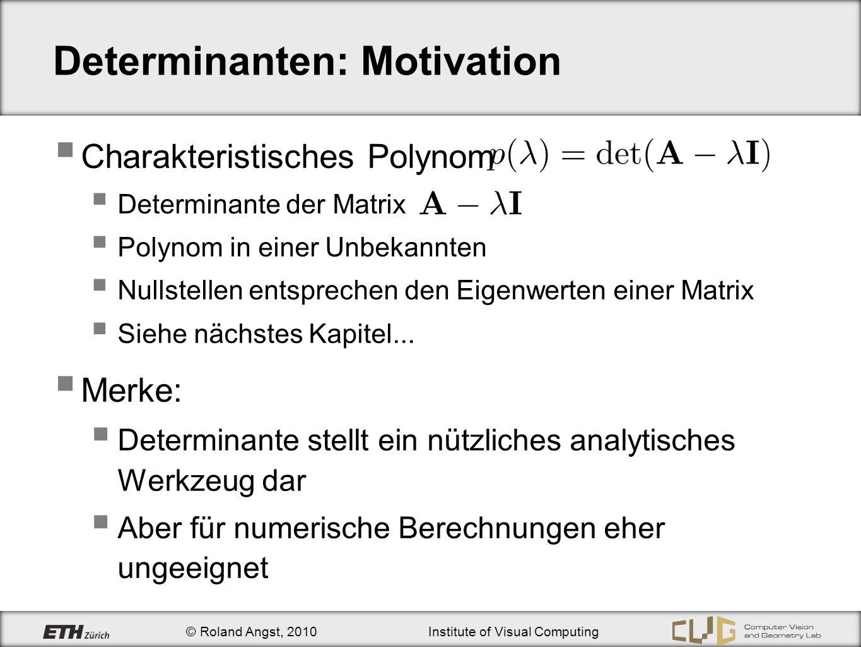 © Roland Angst, 2010Institute of Visual Computing Determinanten: Motivation Charakteristisches Polynom Determinante der Matrix Polynom in einer Unbeka