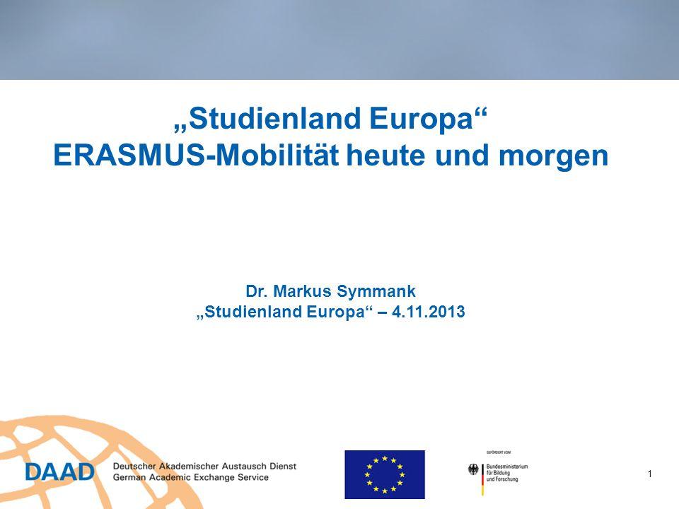 Studienland Europa ERASMUS-Mobilität heute und morgen Dr. Markus Symmank Studienland Europa – 4.11.2013 1