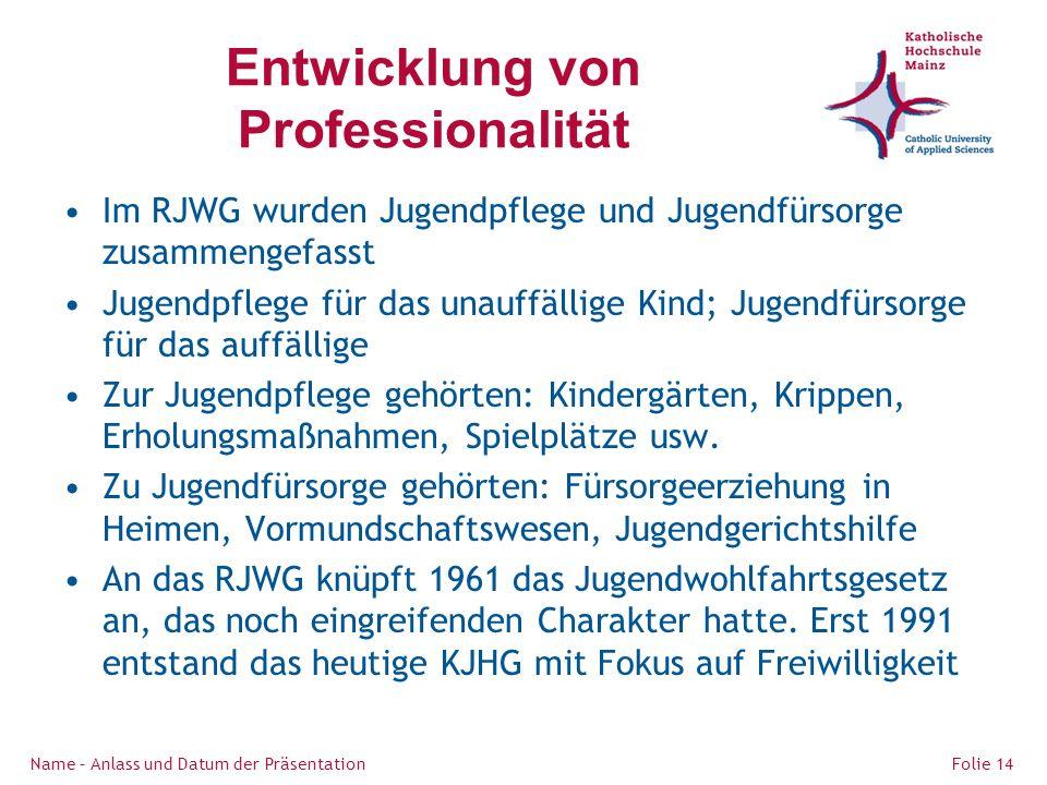 Entwicklung von Professionalität Im RJWG wurden Jugendpflege und Jugendfürsorge zusammengefasst Jugendpflege für das unauffällige Kind; Jugendfürsorge für das auffällige Zur Jugendpflege gehörten: Kindergärten, Krippen, Erholungsmaßnahmen, Spielplätze usw.
