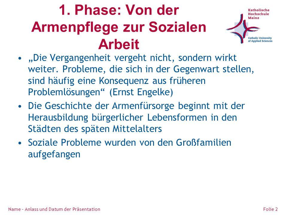 1. Phase: Von der Armenpflege zur Sozialen Arbeit Die Vergangenheit vergeht nicht, sondern wirkt weiter. Probleme, die sich in der Gegenwart stellen,