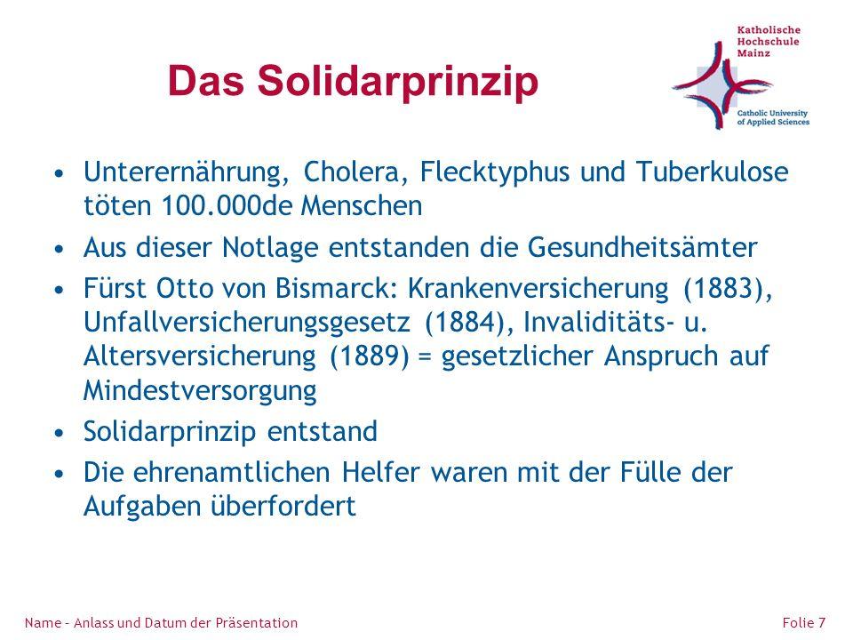 Das Solidarprinzip Unterernährung, Cholera, Flecktyphus und Tuberkulose töten 100.000de Menschen Aus dieser Notlage entstanden die Gesundheitsämter Fürst Otto von Bismarck: Krankenversicherung (1883), Unfallversicherungsgesetz (1884), Invaliditäts- u.