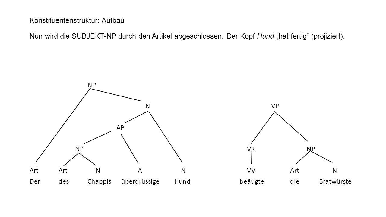 Konstituentenstruktur: Aufbau Nun wird die SUBJEKT-NP durch den Artikel abgeschlossen. Der Kopf Hund hat fertig (projiziert). NP N ̅ VP AP NP VK NP Ar