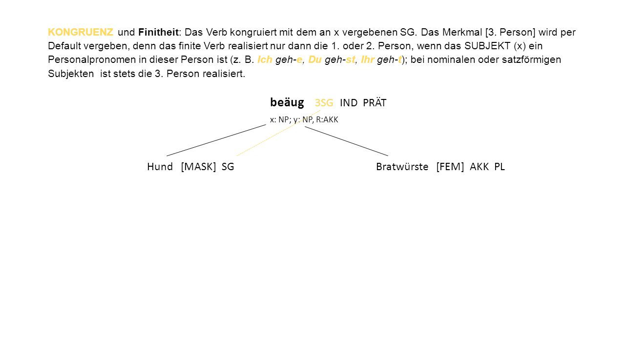 KONGRUENZ und Finitheit: Das Verb kongruiert mit dem an x vergebenen SG. Das Merkmal [3. Person] wird per Default vergeben, denn das finite Verb reali
