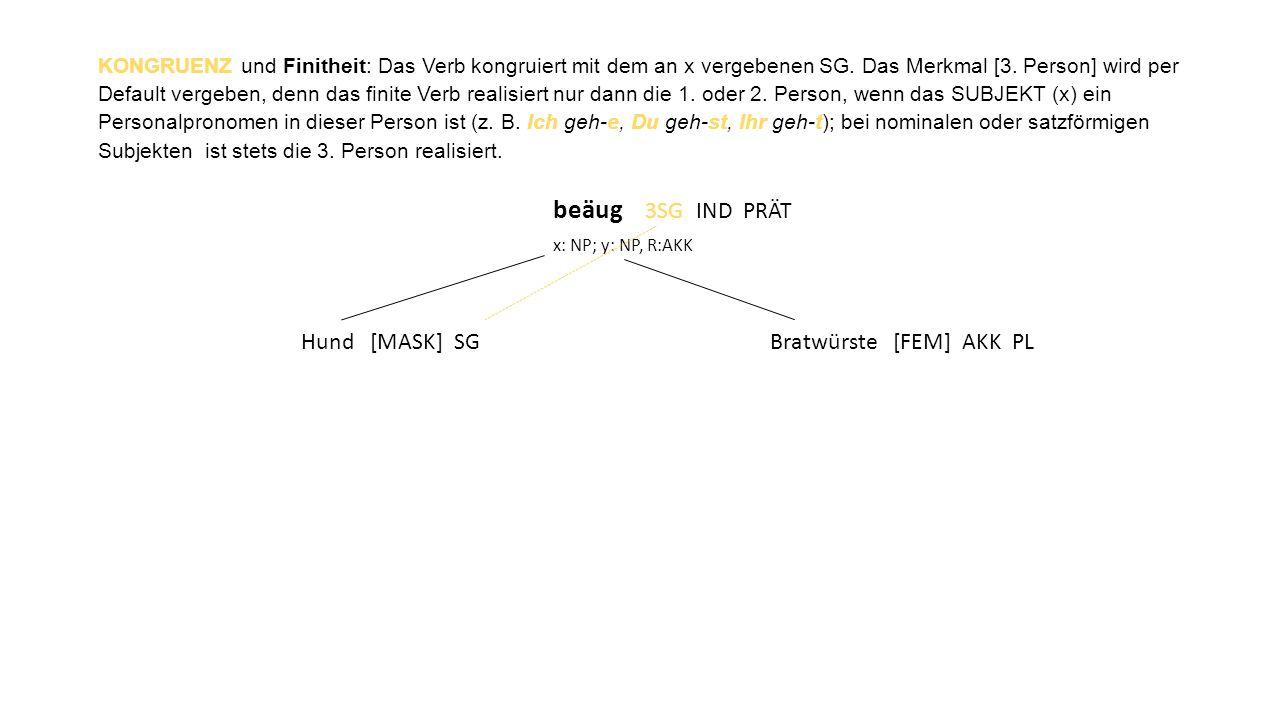 KONGRUENZ und Finitheit: Das Verb kongruiert mit dem an x vergebenen SG.