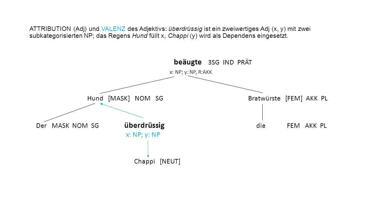 ATTRIBUTION (Adj) und VALENZ des Adjektivs: überdrüssig ist ein zweiwertiges Adj (x, y) mit zwei subkategorisierten NP; das Regens Hund füllt x, Chappi (y) wird als Dependens eingesetzt.