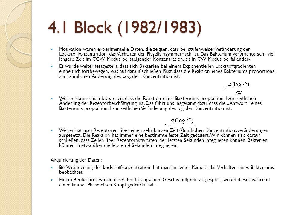 4.1 Block (1982/1983) Motivation waren experimentelle Daten, die zeigten, dass bei stufenweiser Veränderung der Lockstoffkonzentration das Verhalten der Flagella asymmetrisch ist.