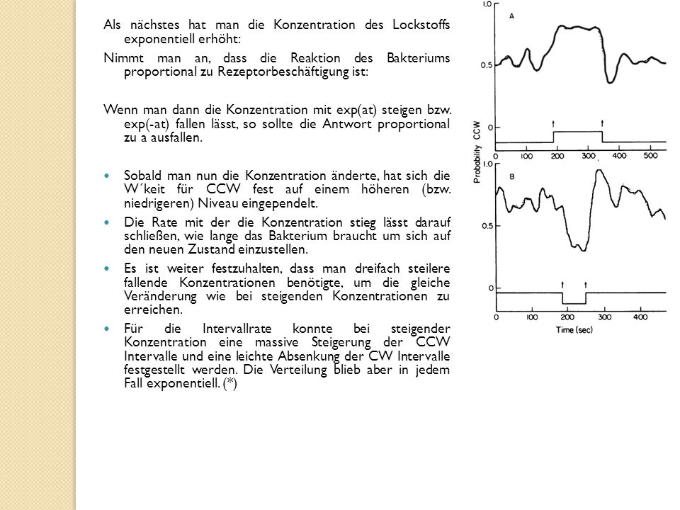 Als nächstes hat man die Konzentration des Lockstoffs exponentiell erhöht: Nimmt man an, dass die Reaktion des Bakteriums proportional zu Rezeptorbeschäftigung ist: Wenn man dann die Konzentration mit exp(at) steigen bzw.