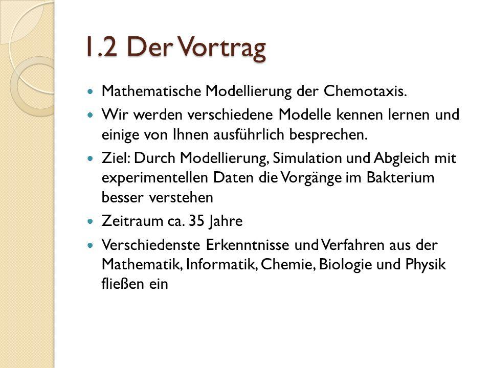 1.2 Der Vortrag Mathematische Modellierung der Chemotaxis.